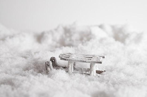 Mini slee in de sneeuw Drenthe Camping Zonnekamp